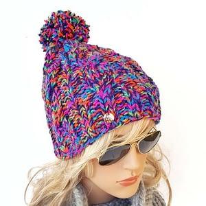 mega kolorowa czapka w warkocze