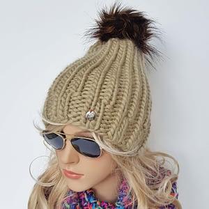 oliwkowa gruba czapka wełniana