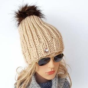 piaskowa gruba czapka wełniana